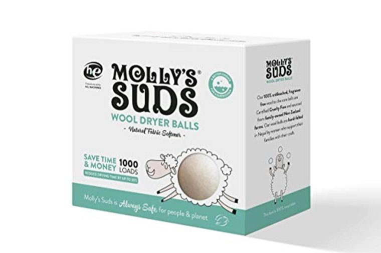 Molly's Suds Wool Dryer Balls (set of 3) - Natural Fabric Softener, Reduce Drying Time, Reusable, Chemical Free, Unscented