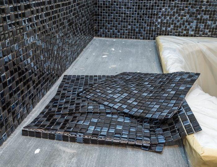 Black mosaic ceramic tiles for tiling