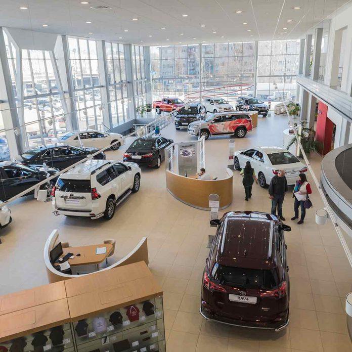 Cars-in-showroom-of-Toyota-dealership