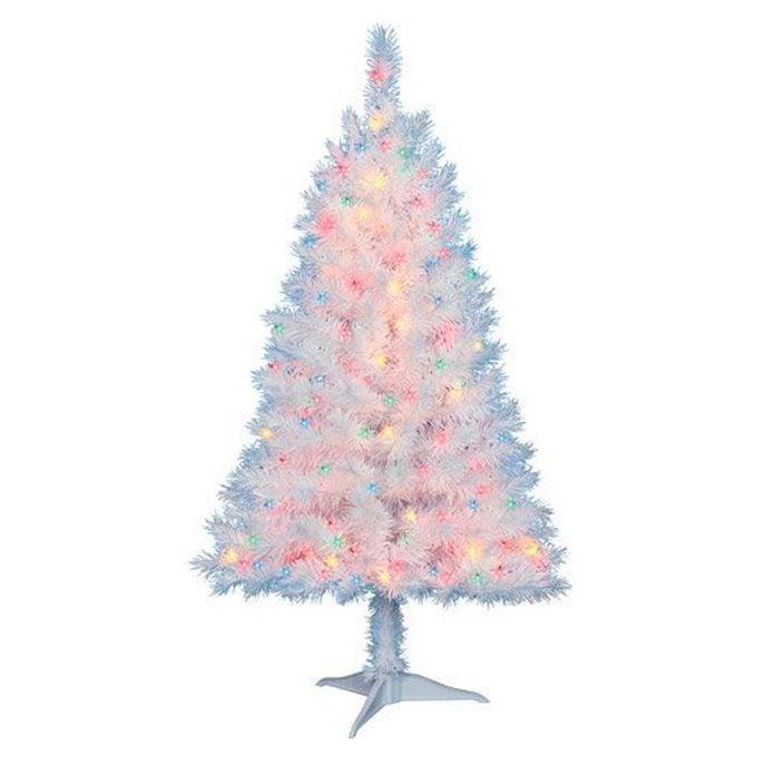 Pre-Lit-Multi-Color-White-Christmas-Tree