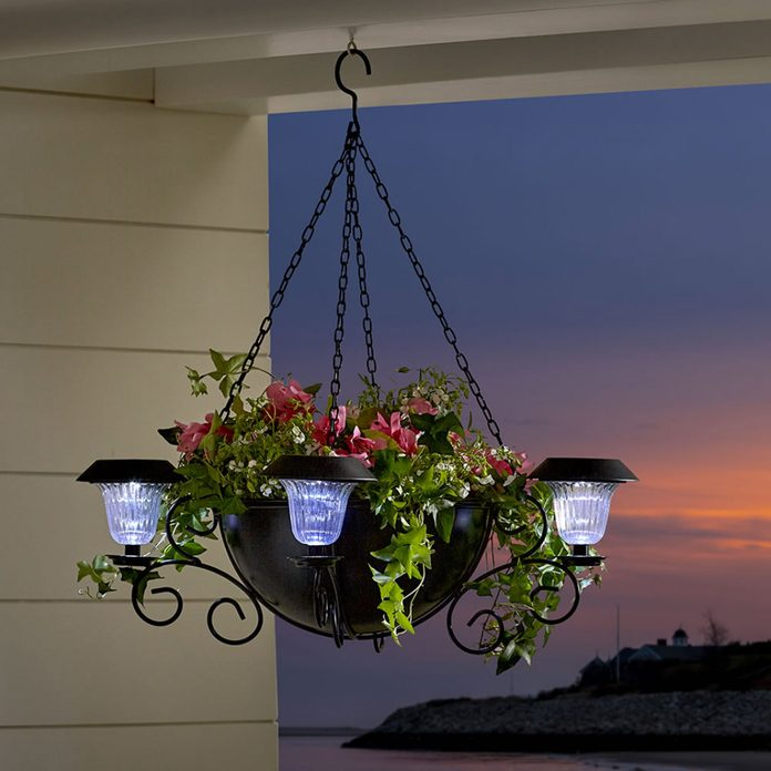 hanging outdoor solar chandelier and planter
