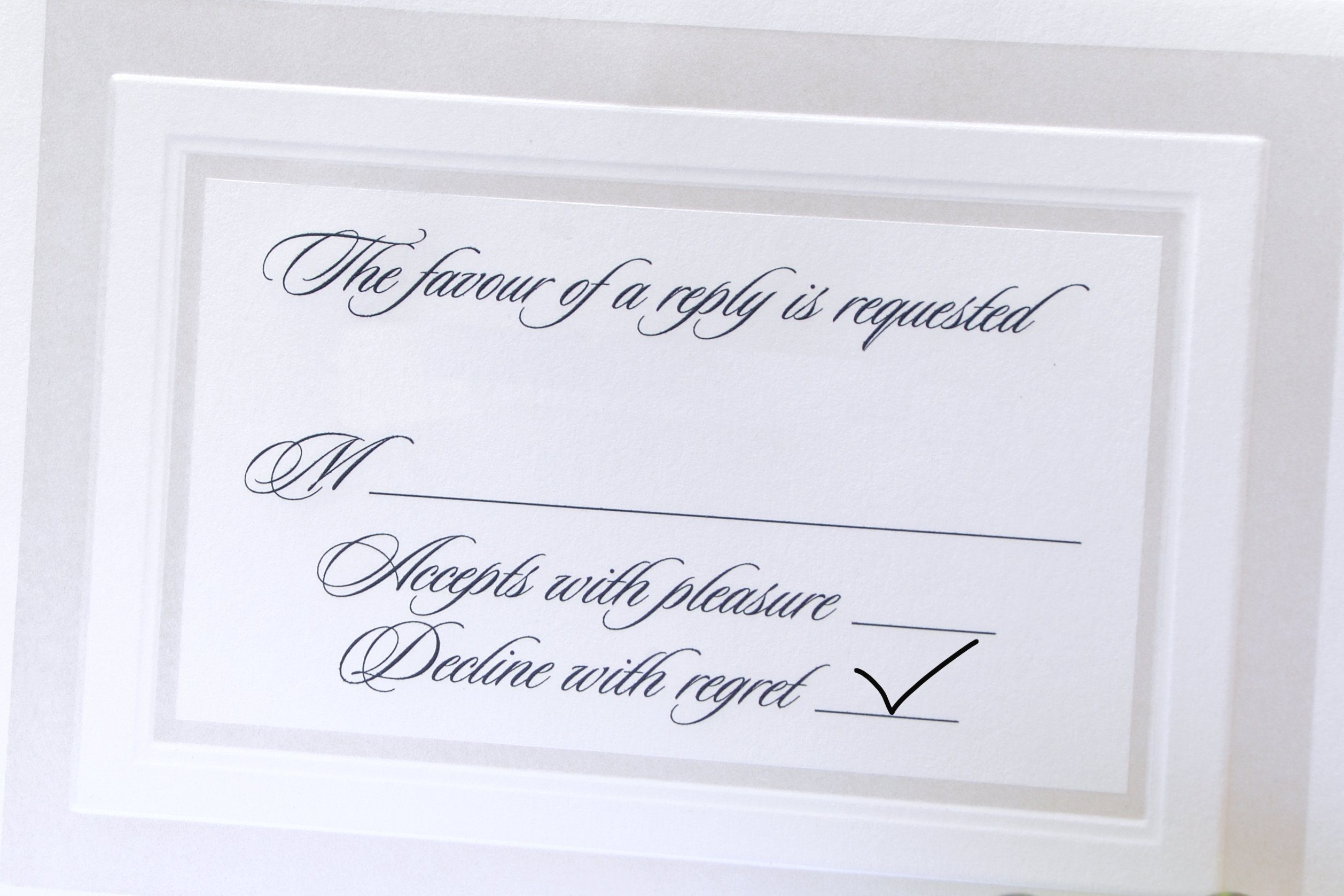 RSVP letter with a calligraphy pen and ink.; Shutterstock ID 65390005