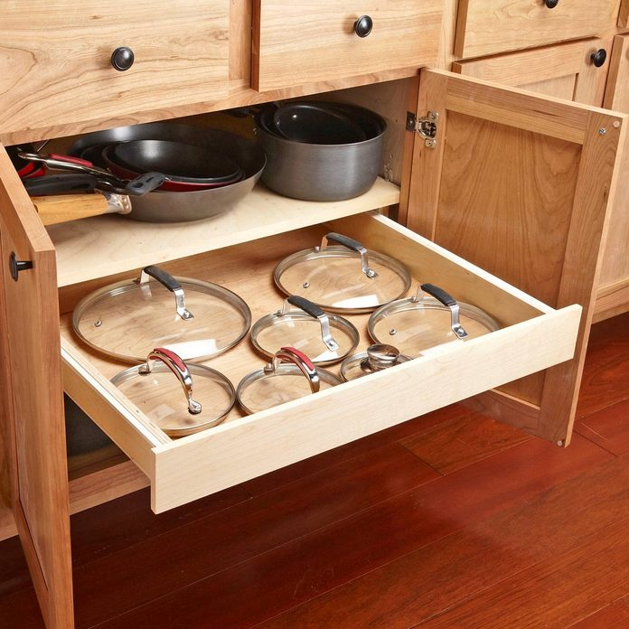 kitchen pots and pans and lid storage
