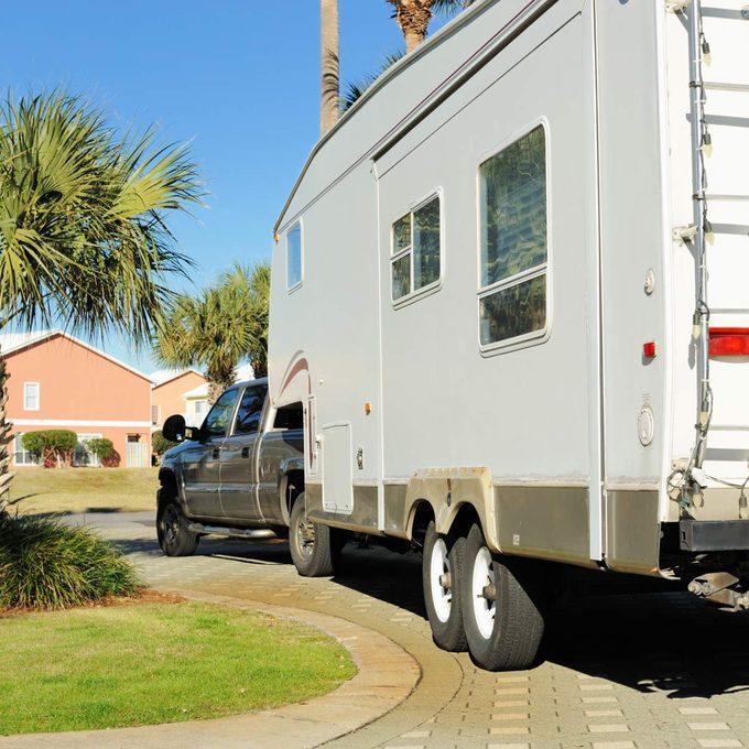 Rv camper in driveway