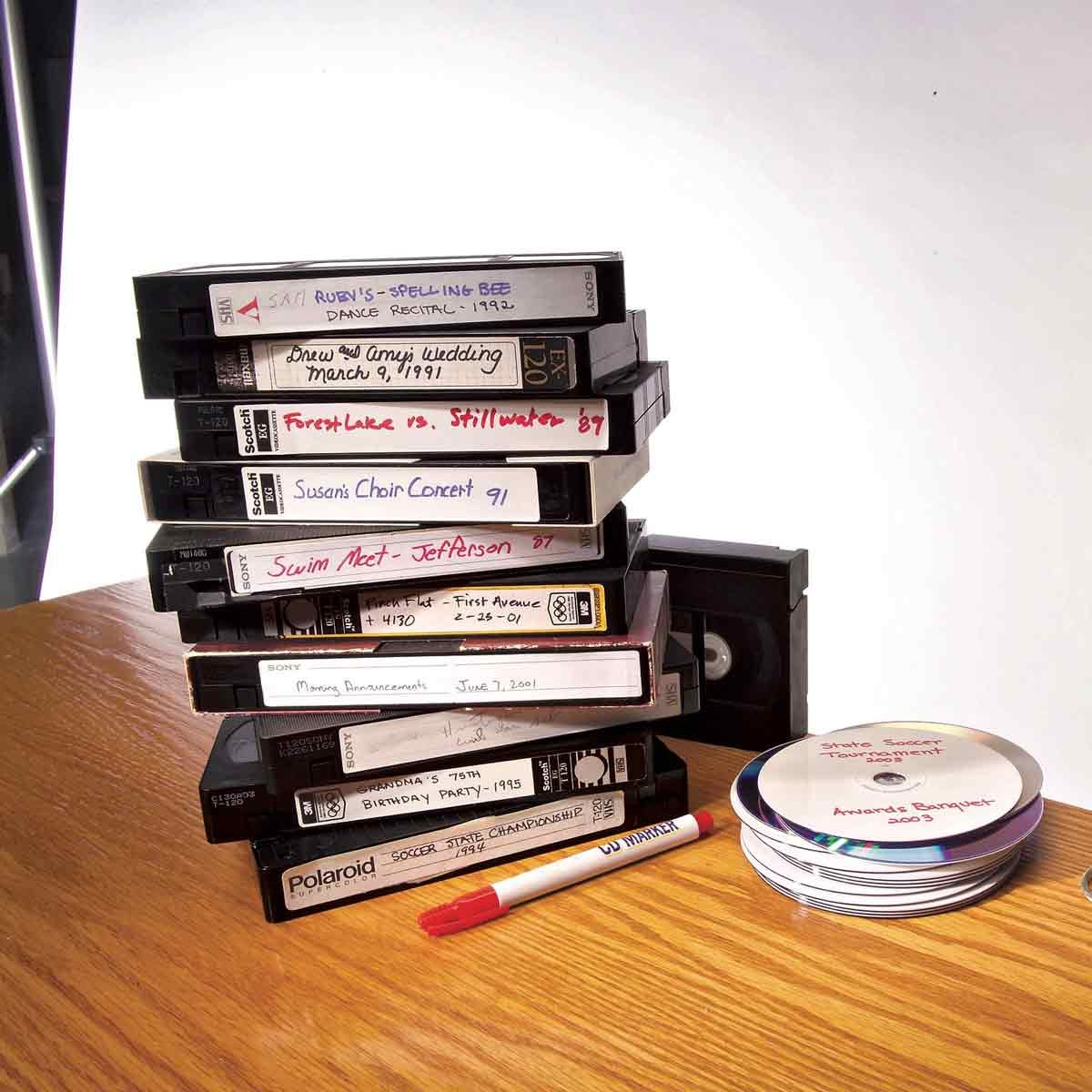 VHS taps and DVDs
