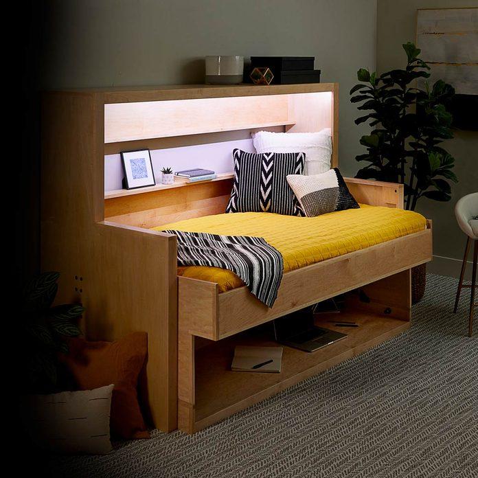 murphy bed desk lit up