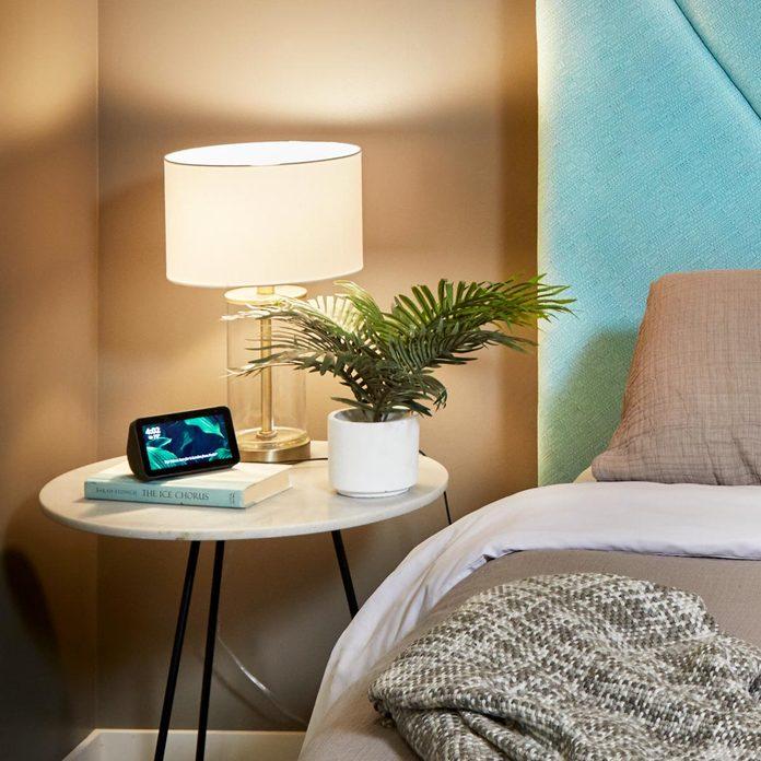 plant in bedroom nightstand