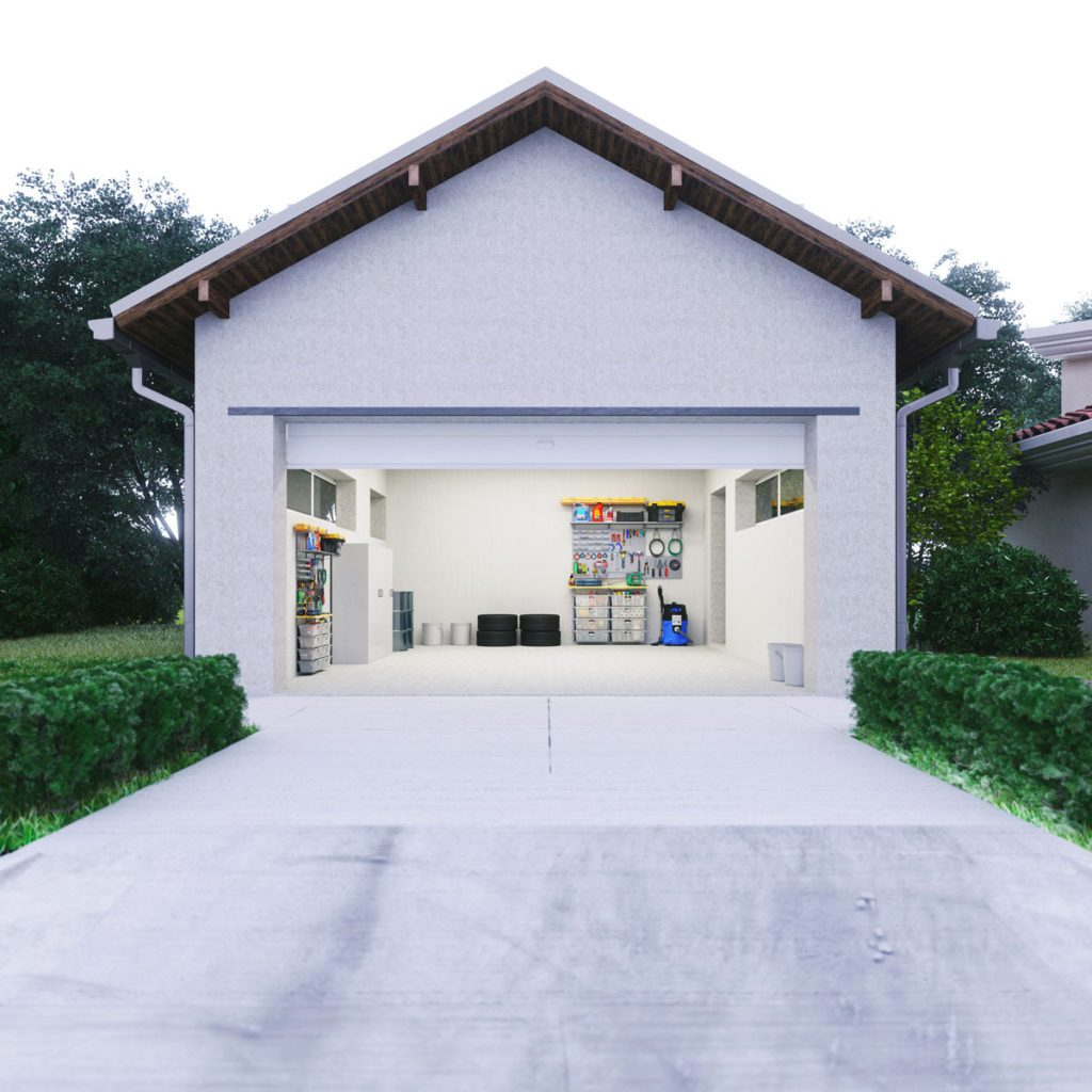 open garage with concrete driveway