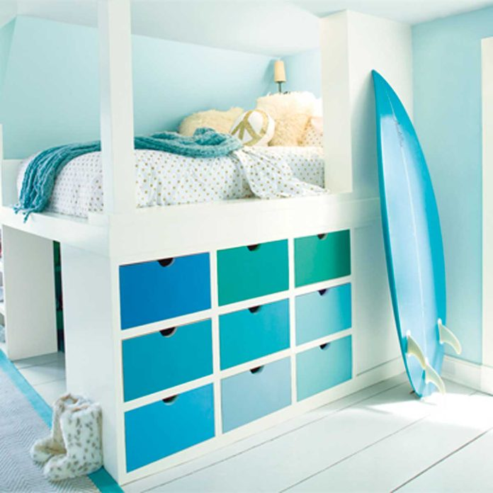 blue drawer bedroom