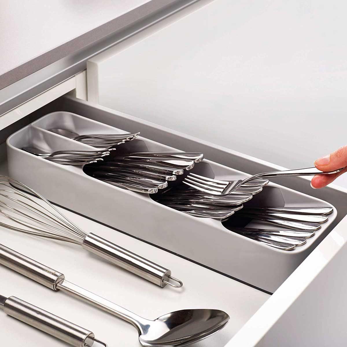 gray cutlery organizer