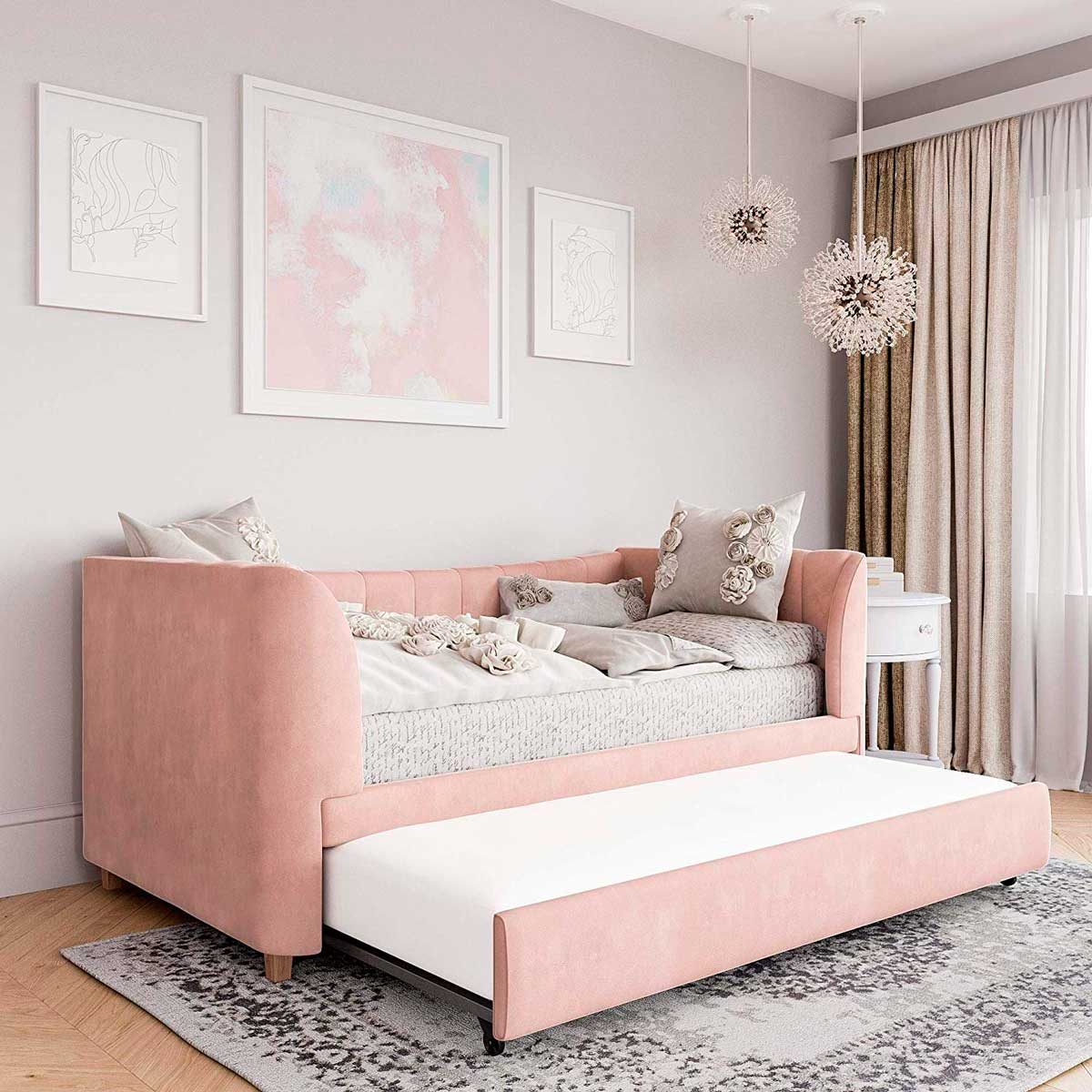 pink daybed with trundle