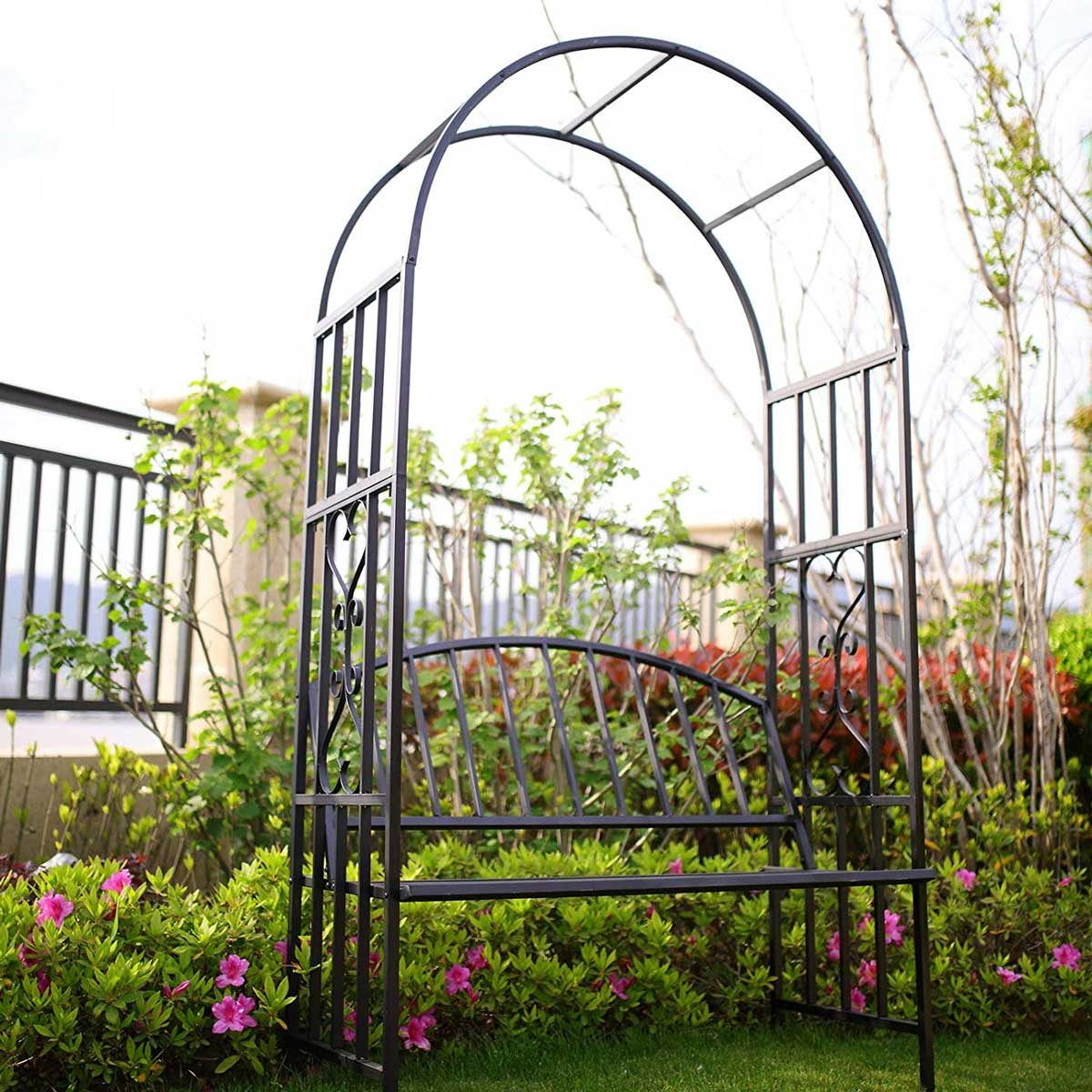 Arched arbor with a bench