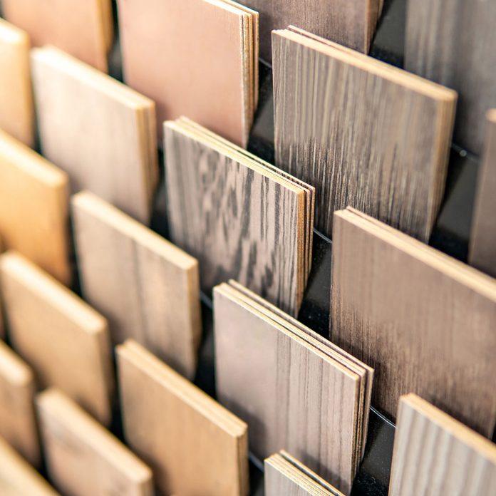 Sample of wood chipboard. Wooden laminate veneer material
