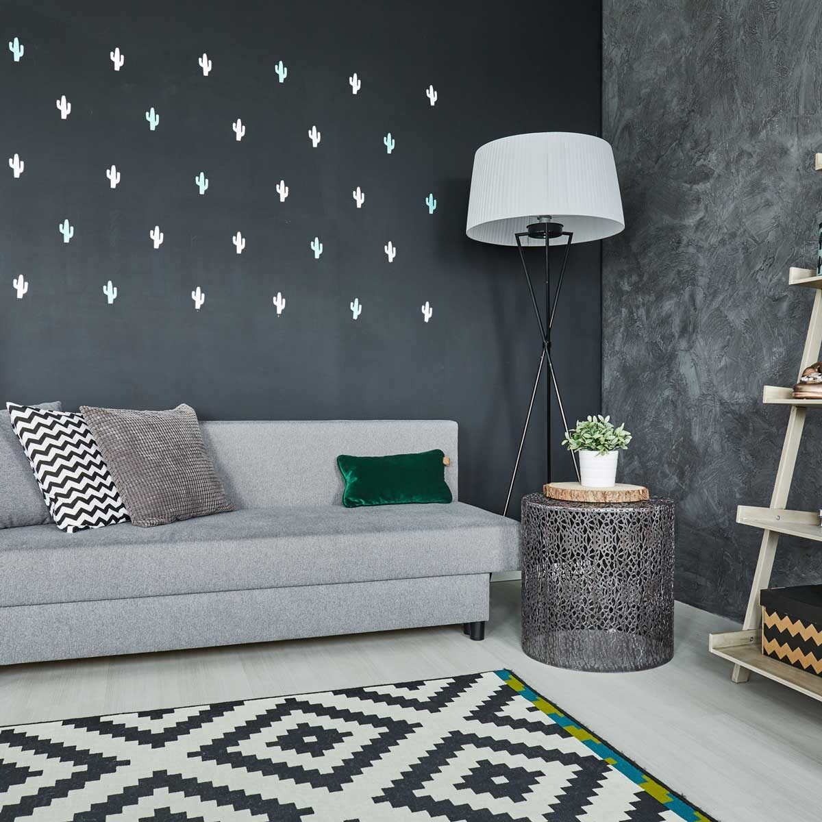 Living room with various patterns in black and white