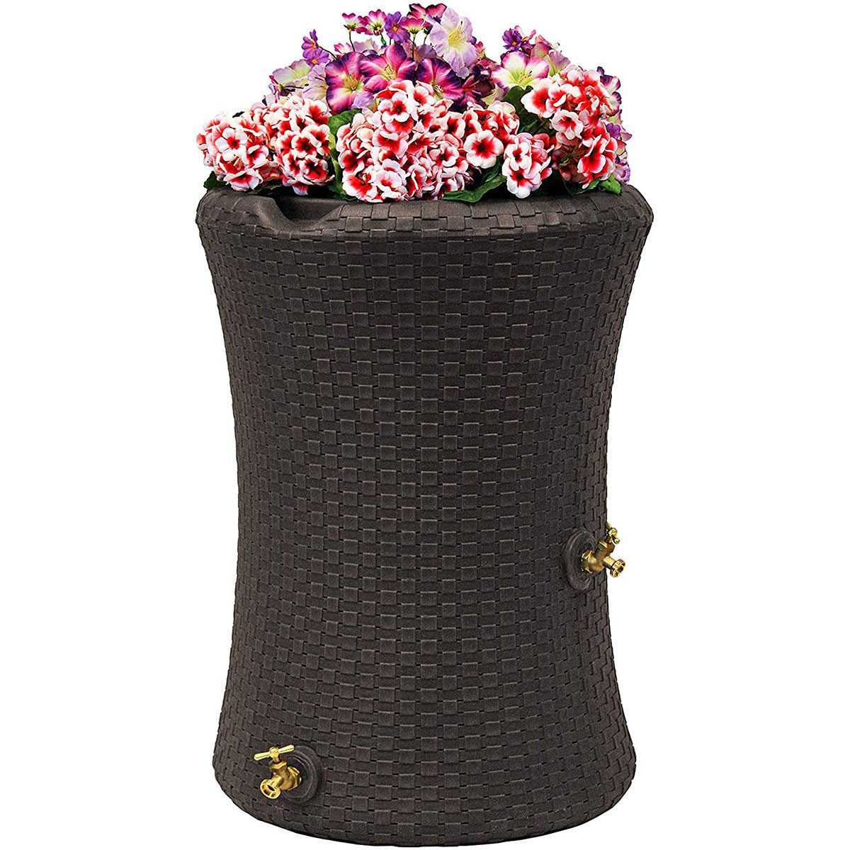 Black rain barrel with pink flowers on top