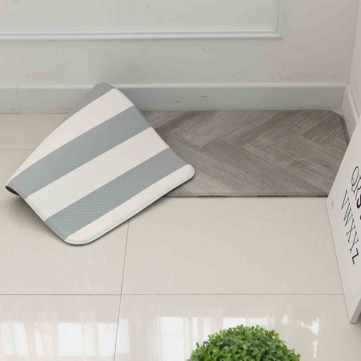 Anti Fatigue Cushion Stylish Comfort Floor Foam Kitchen Mat, Office Mat, Waterproof, Easy to clean, Soft and Thick, Non Toxic, Reversible (Grey and Stripe, 17