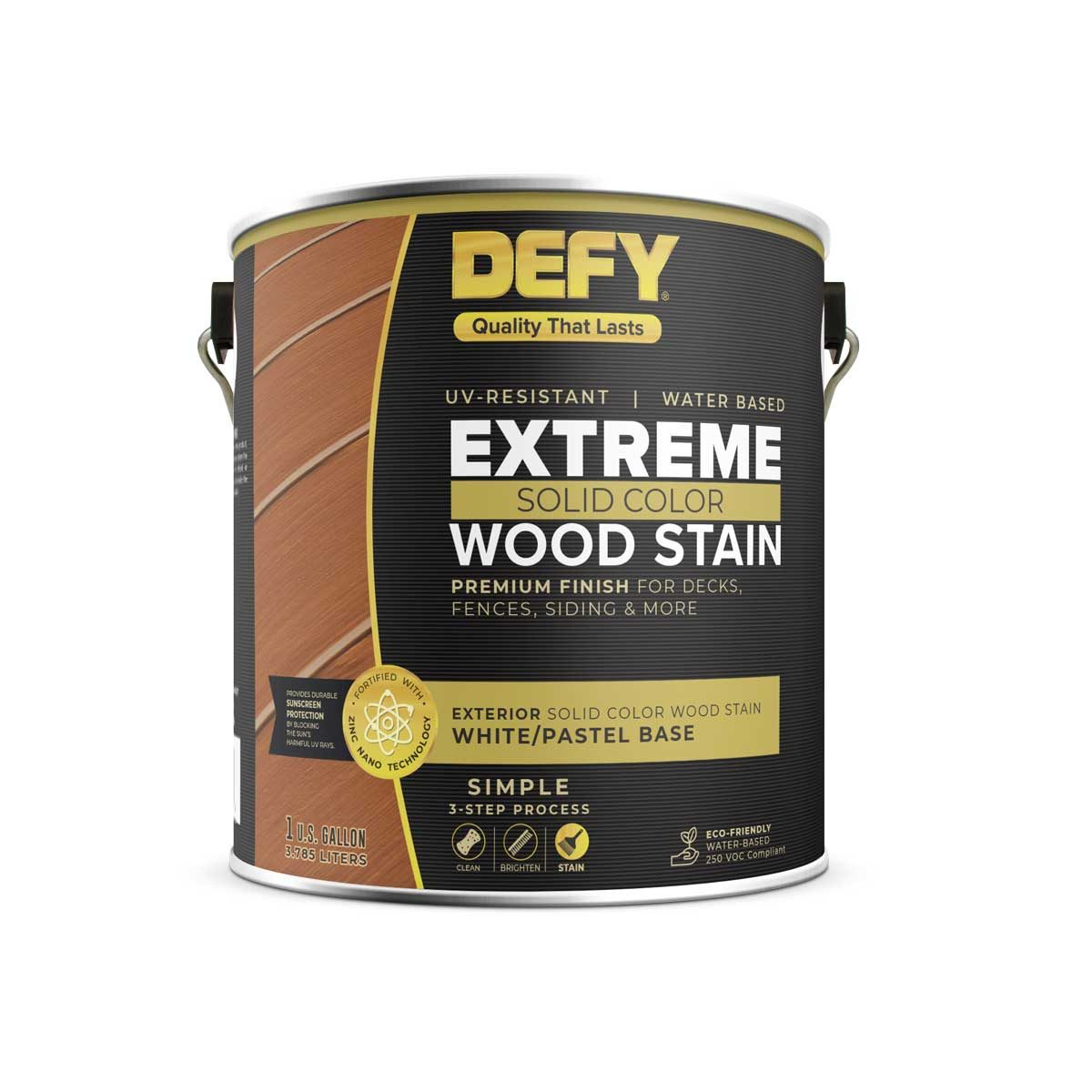 Can of Defy wood stain