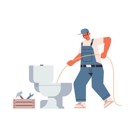 Professional Worker Plumber In Uniform Using Sewer Snake Cleaning Blockage In Toilet Repair Service Concept