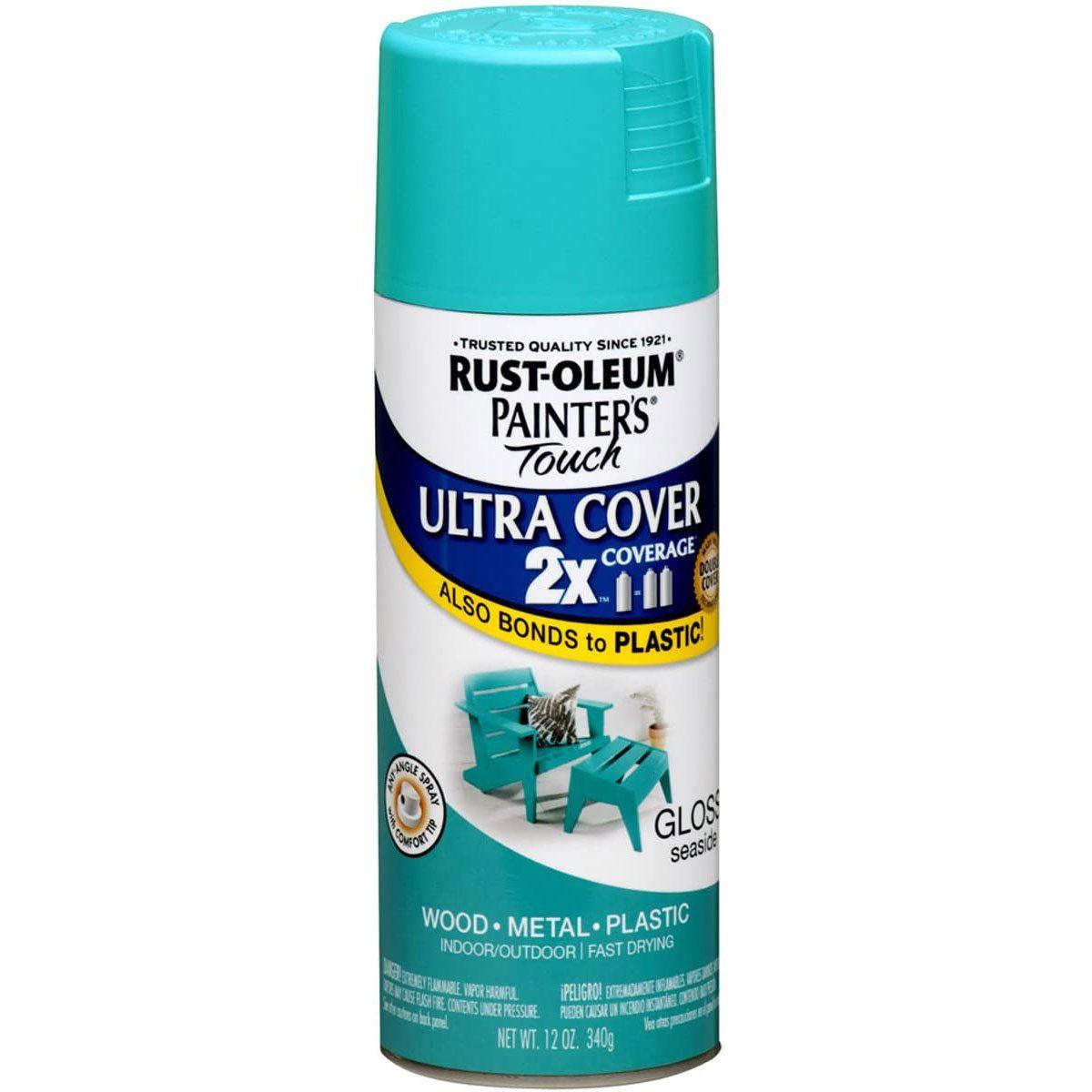 Can of aqua Rust-Oleum paint