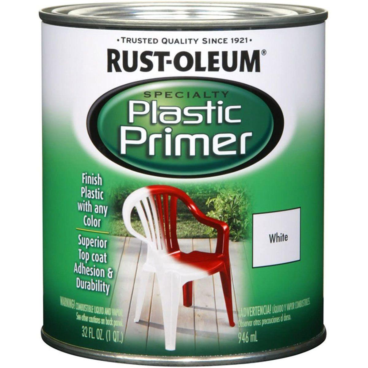 Can of Rust-Oleum plastic primer
