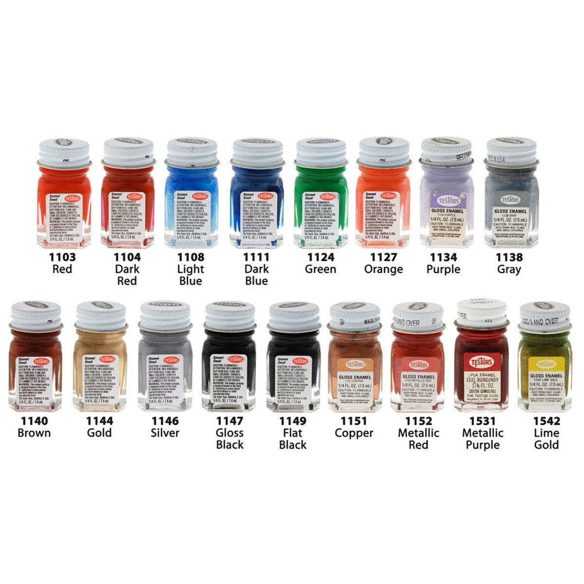 Two rows of Testors paint jars in many colors