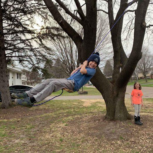 Kids swinging