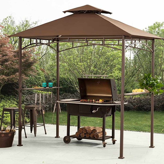 Sunjoy Brown Steel Rectangle Grill Gazebo