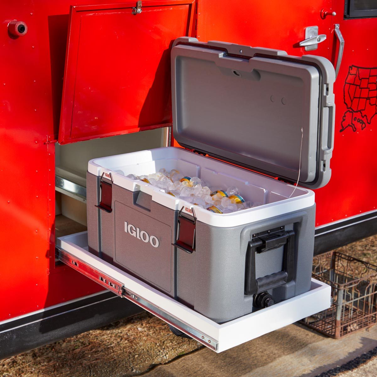 camper roll out cooler