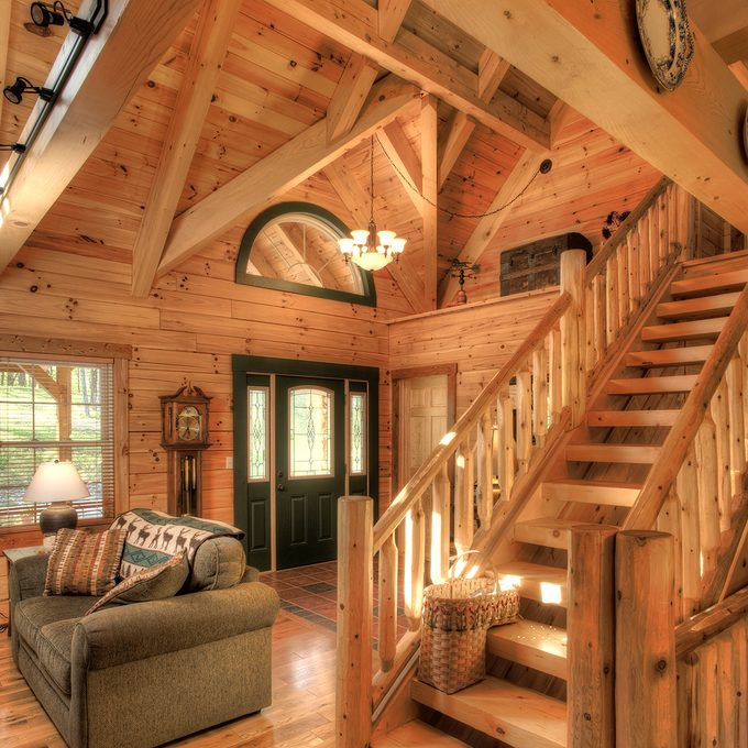 Front foyer of log home