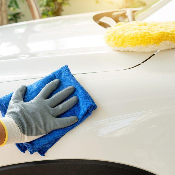 Waxing a car