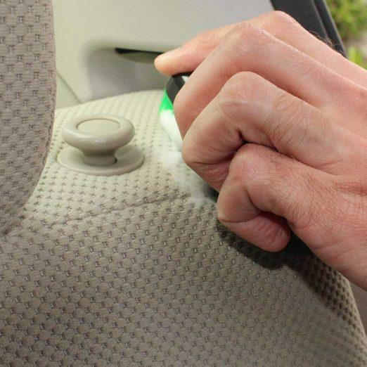Scrubbing a cloth car seat