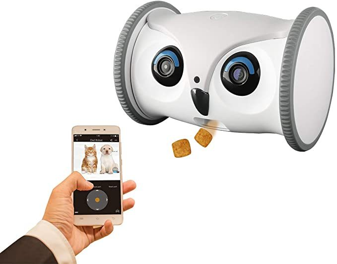 SKYMEE Owl Robot: Mobile Full HD Pet Camera with Treat Dispenser