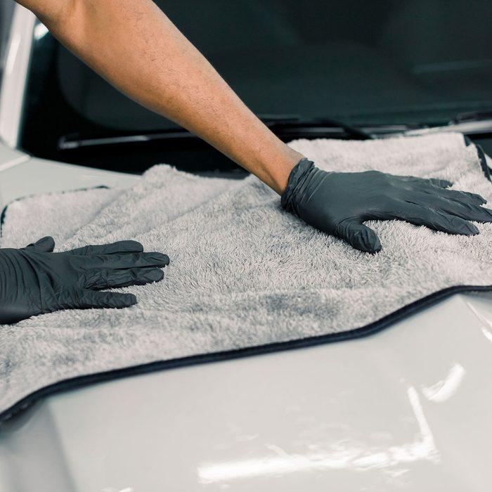 hand washing a car