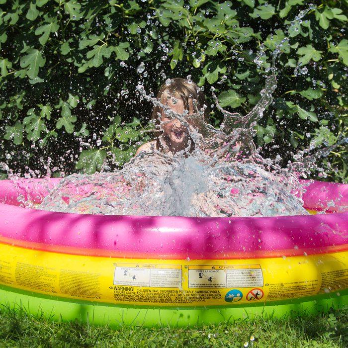 girl in kiddie pool