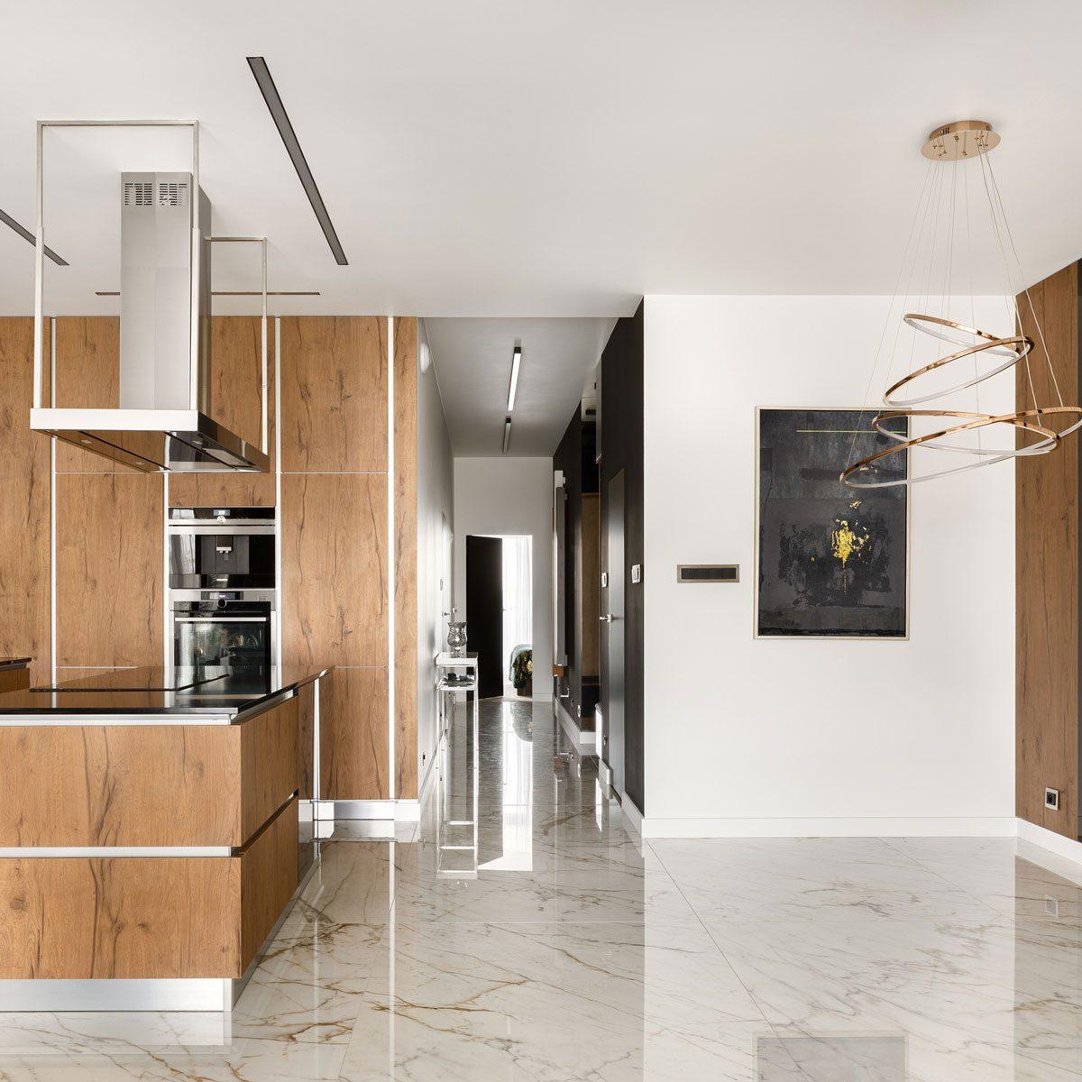 Kitchen with marble floor