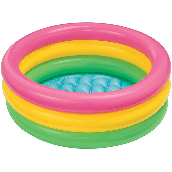 Green, yellow and pink kiddie pool