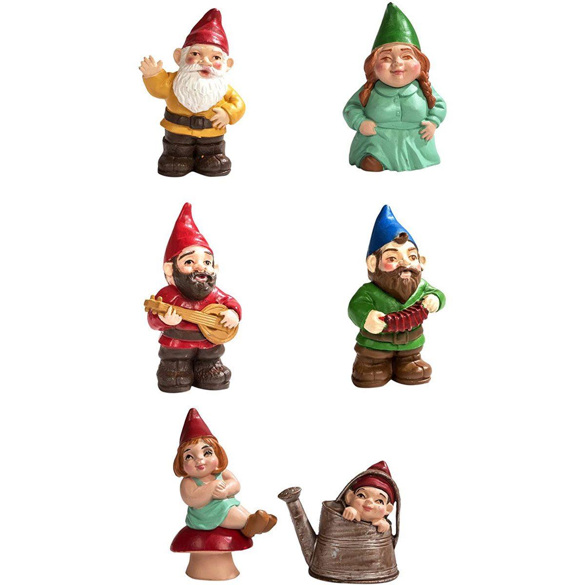 Six garden gnomes