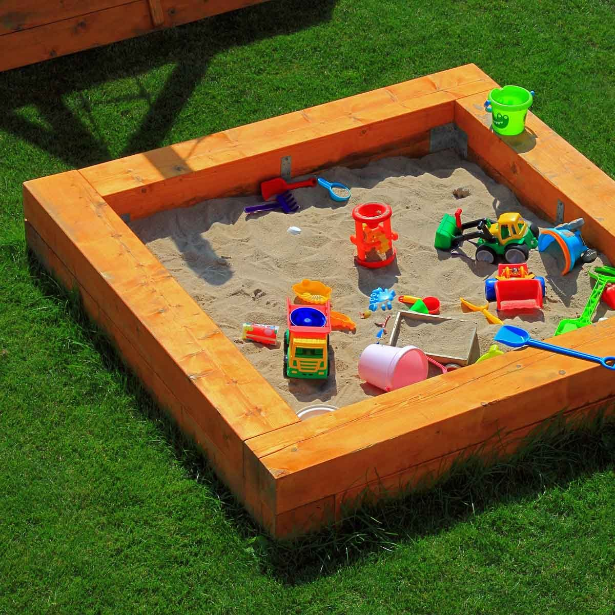 Sandbox with toys