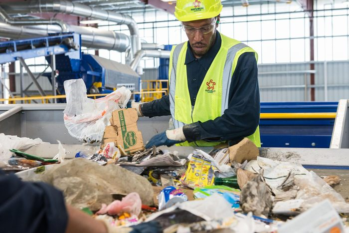 recycling plant worker