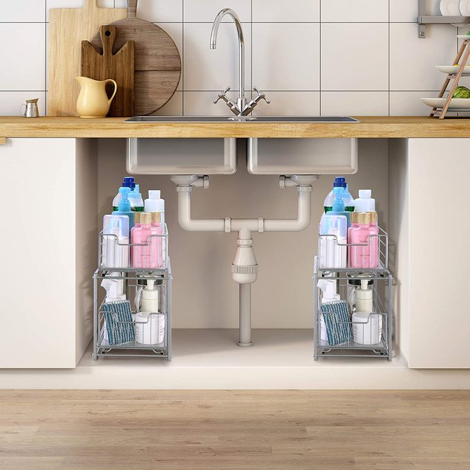 Stackable 2-Tier Under Sink Cabinet Organizer Storage Racks with Sliding Storage Drawer