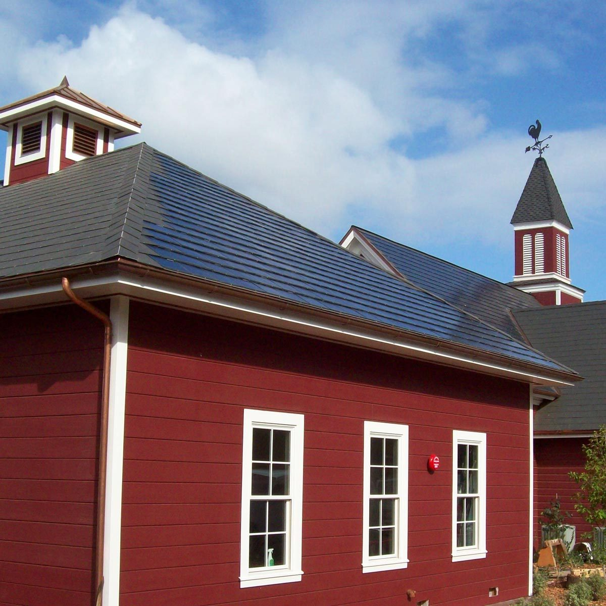 solar panels integrated into roof