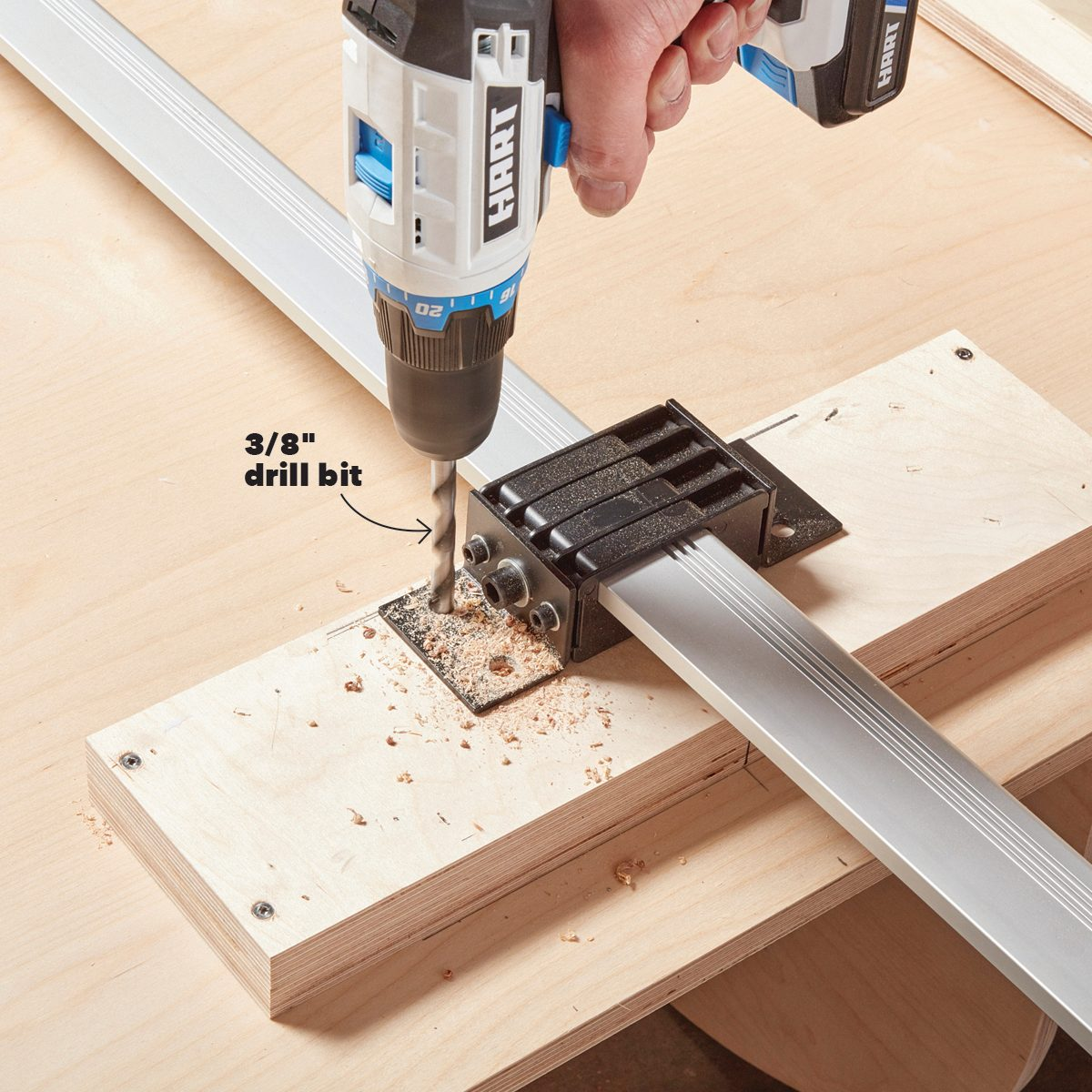 Drilling holes in the shelf mount