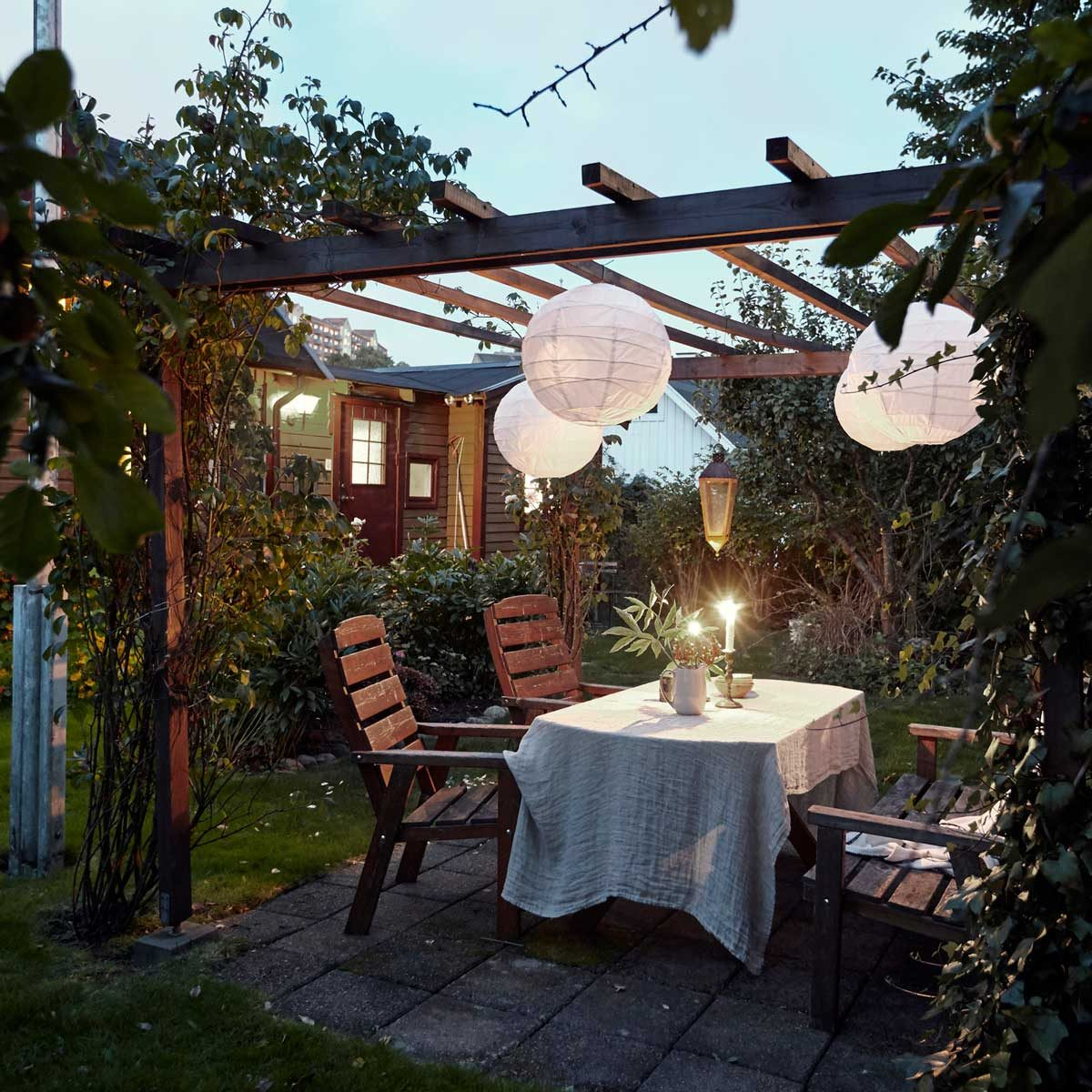 Table set under a pergola