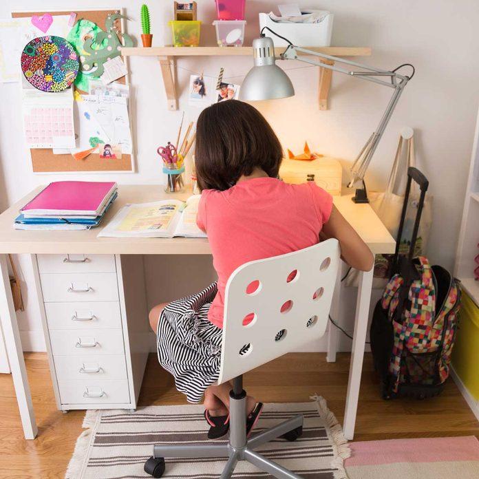Girl studying at her desk