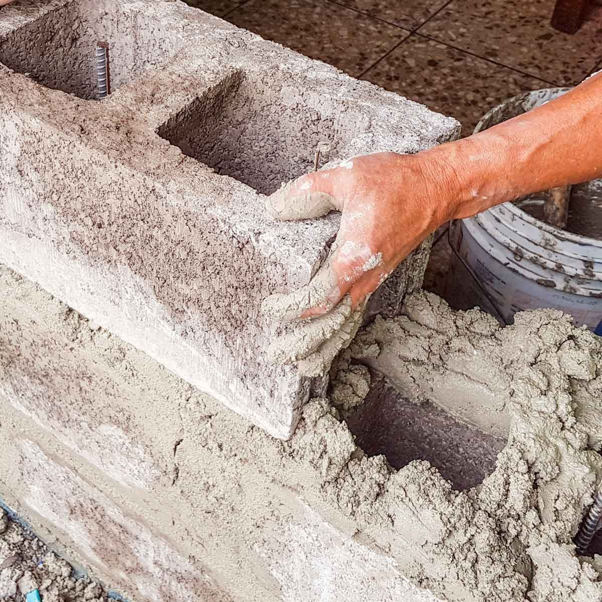 Working with cement with bare hands