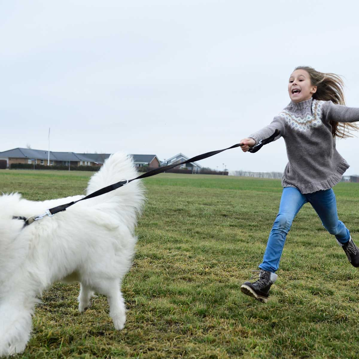 Girl playing with a dog on a leash