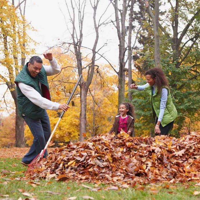 A family raking fall leaves
