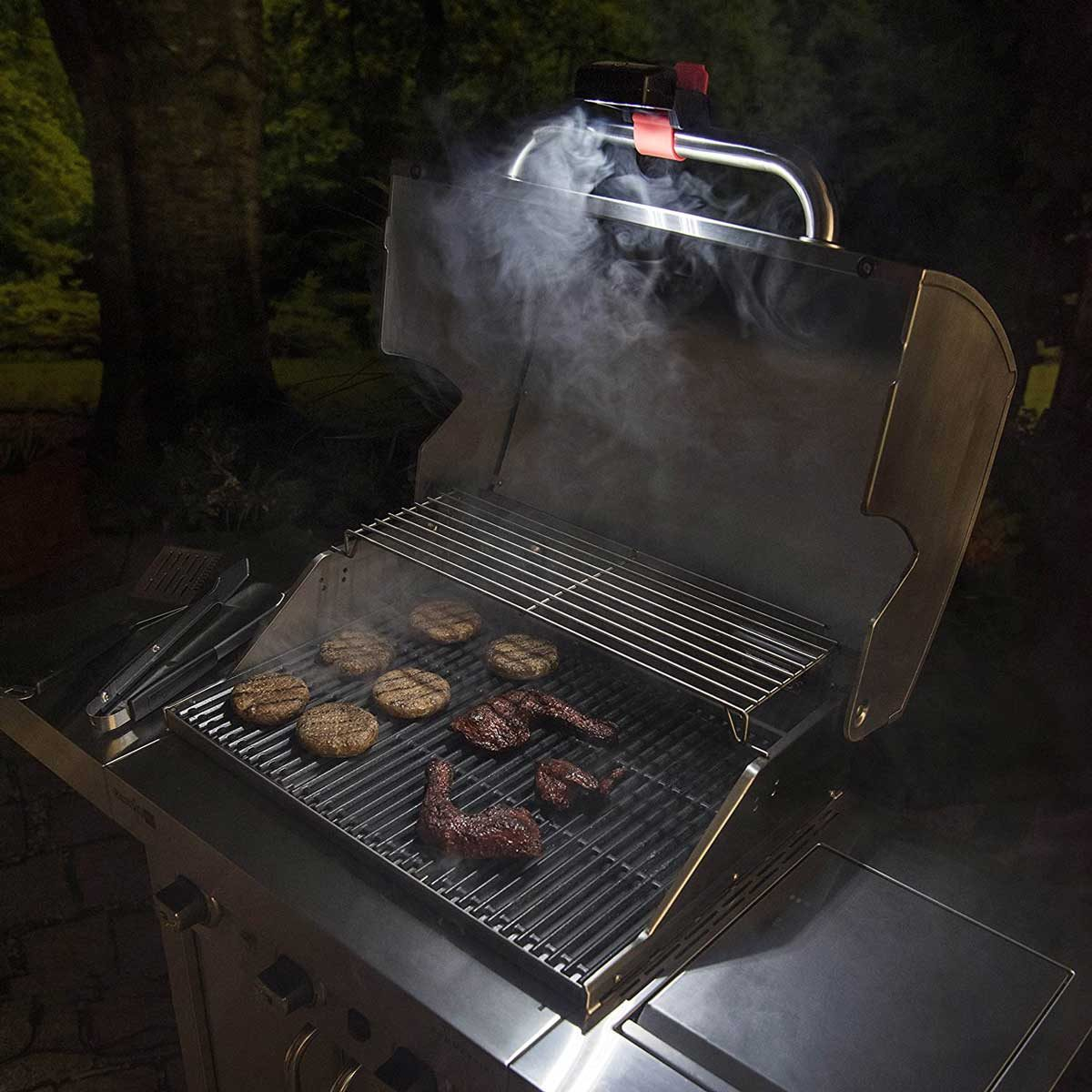 Grill with a light