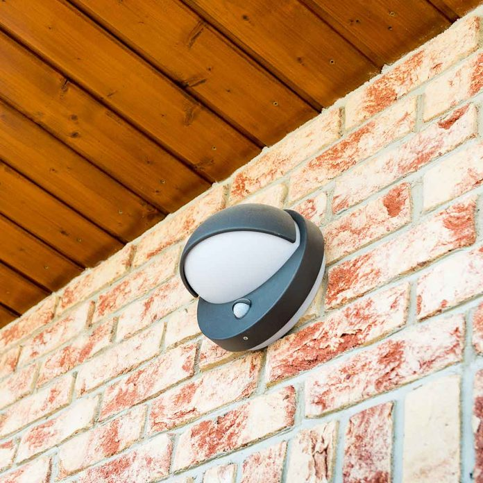 Motion sensor light on a wall
