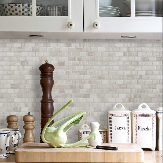 Gray and white tile